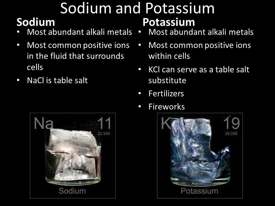 Sodium and Potassium Sodium Potassium Most abundant alkali metals