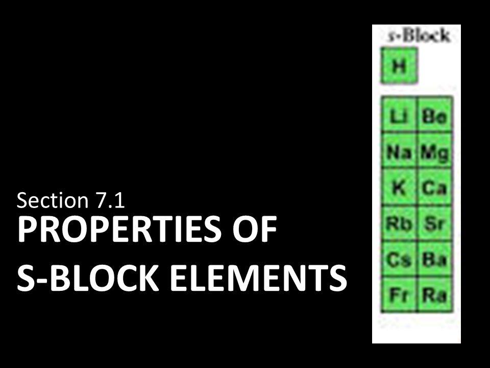 Properties of S-Block elements