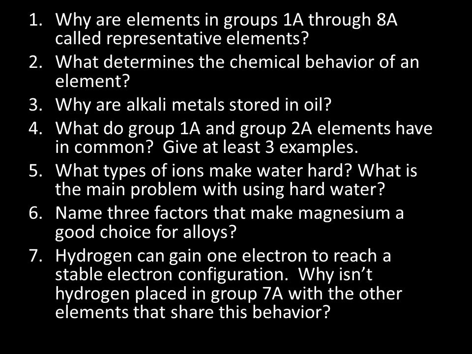 Why are elements in groups 1A through 8A called representative elements