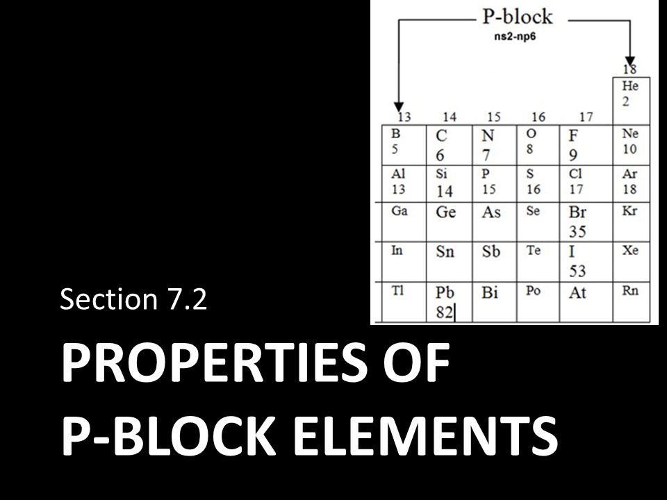Properties of p-block elements