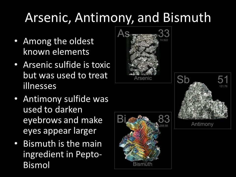 Arsenic, Antimony, and Bismuth
