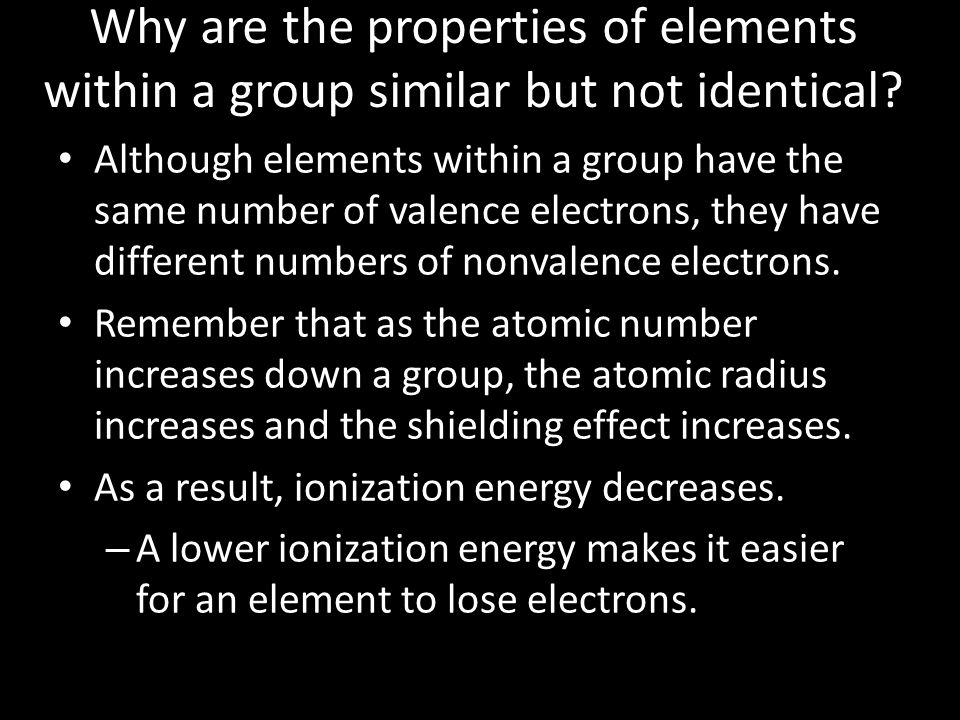 Why are the properties of elements within a group similar but not identical
