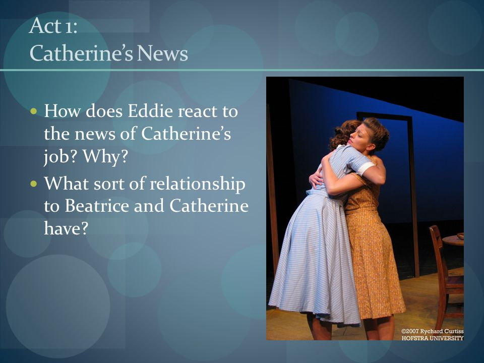 Act 1: Catherine's News How does Eddie react to the news of Catherine's job.