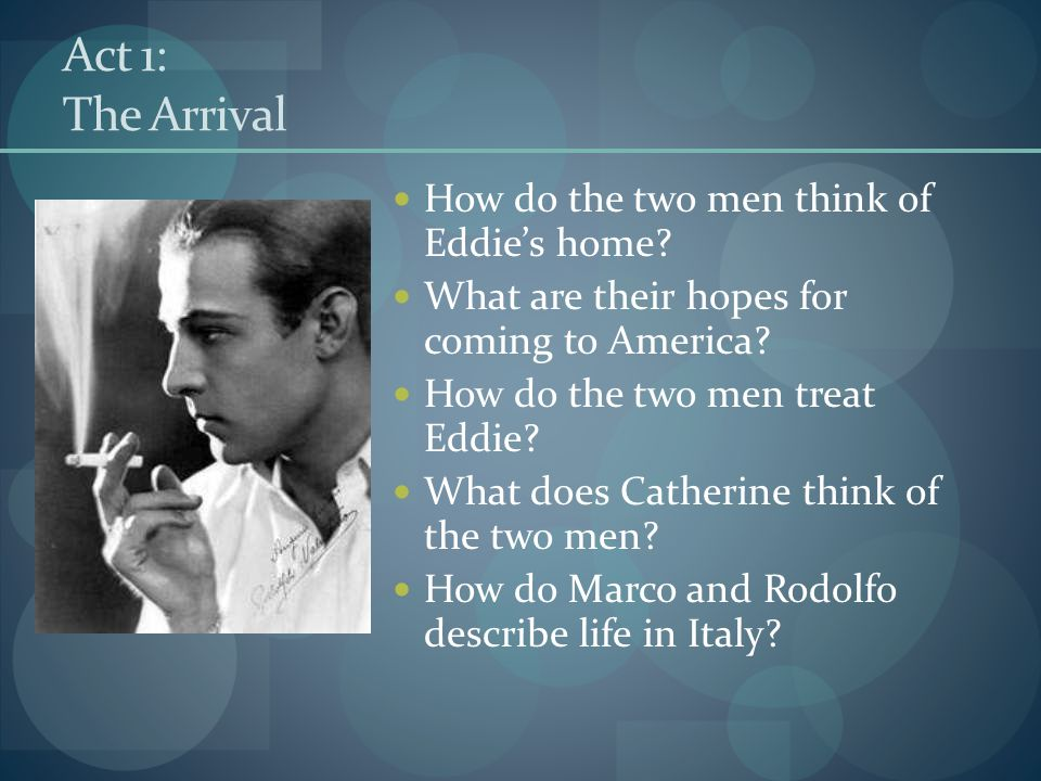 Act 1: The Arrival How do the two men think of Eddie's home