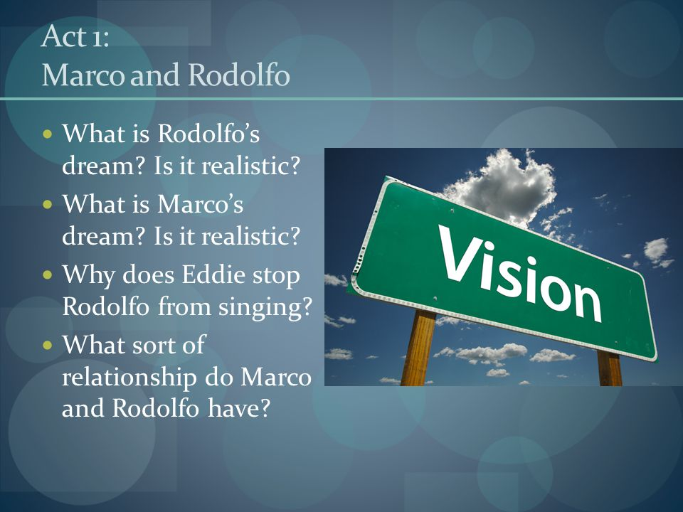 Act 1: Marco and Rodolfo What is Rodolfo's dream Is it realistic