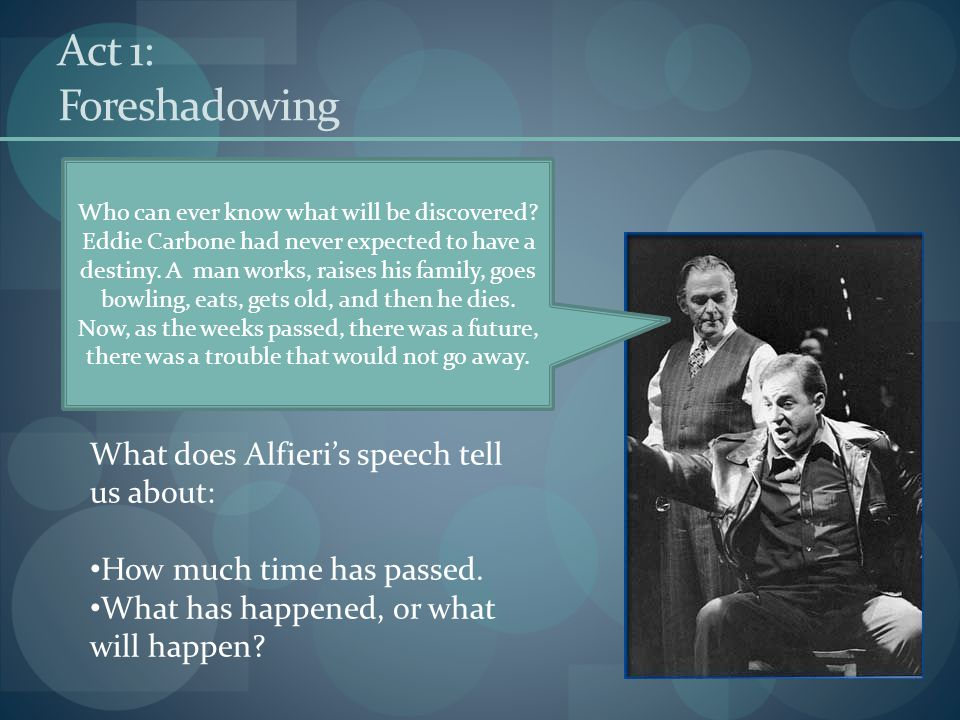 Act 1: Foreshadowing What does Alfieri's speech tell us about:
