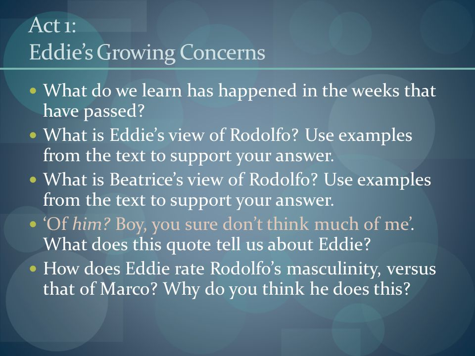 Act 1: Eddie's Growing Concerns