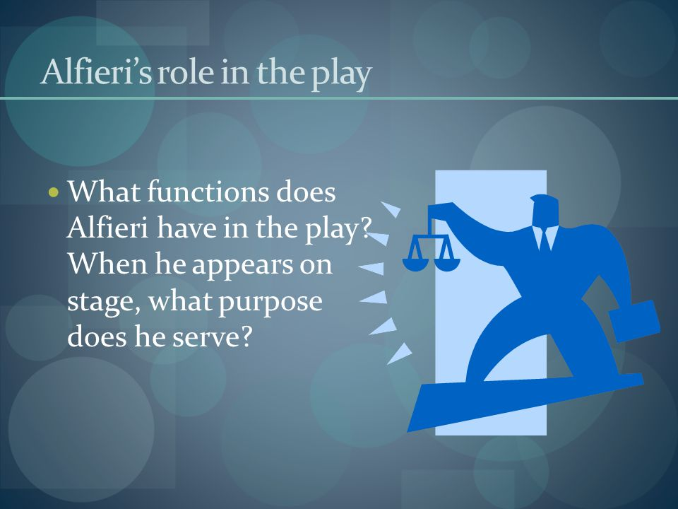 Alfieri's role in the play
