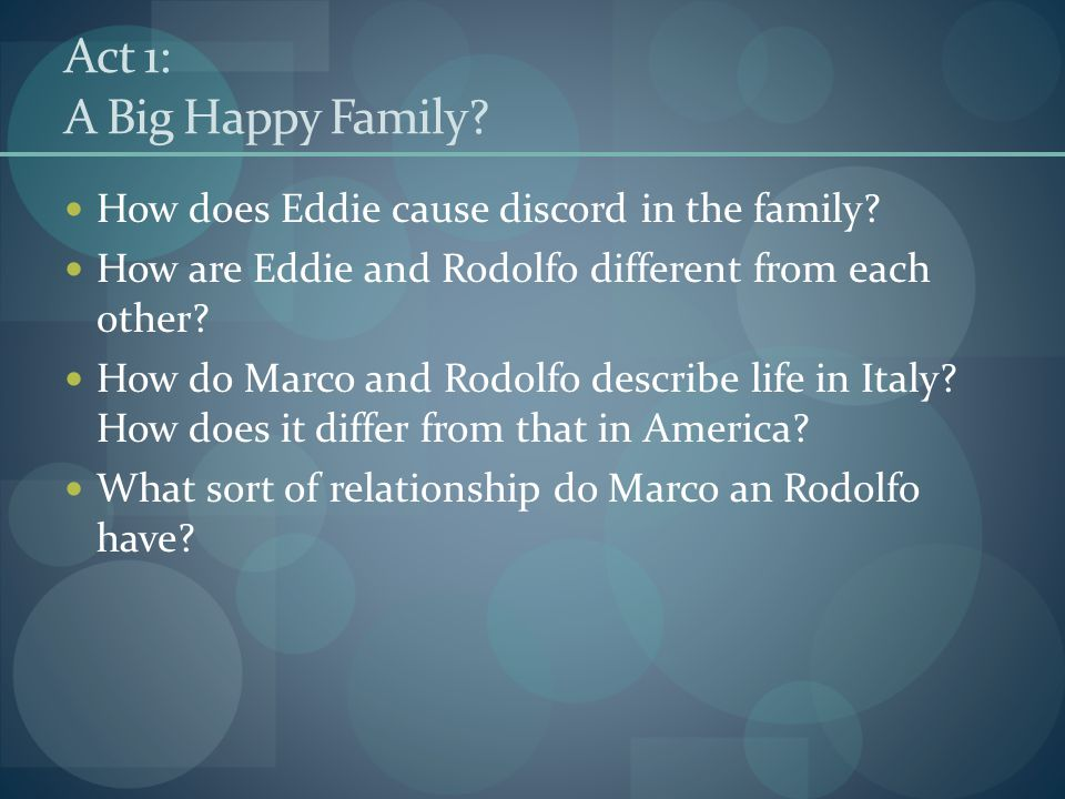 Act 1: A Big Happy Family How does Eddie cause discord in the family