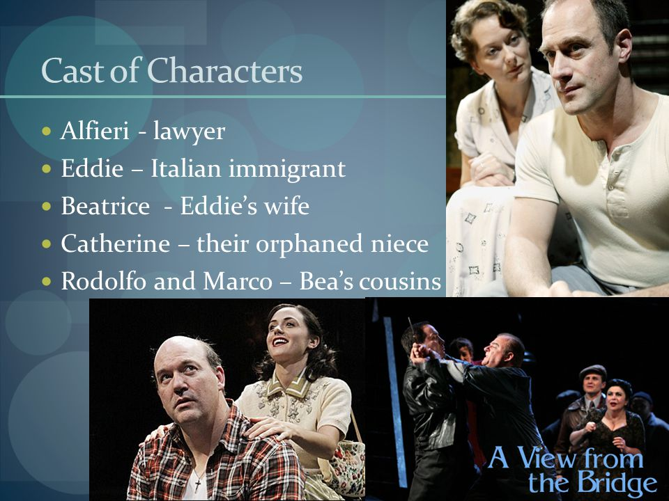 Cast of Characters Alfieri - lawyer Eddie – Italian immigrant