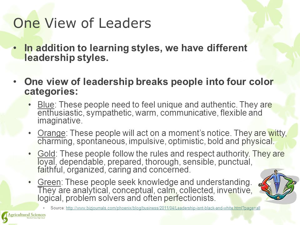 One View of Leaders In addition to learning styles, we have different leadership styles.