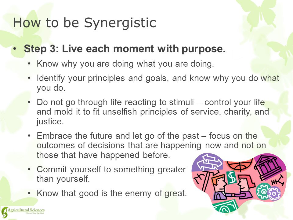 How to be Synergistic Step 3: Live each moment with purpose.