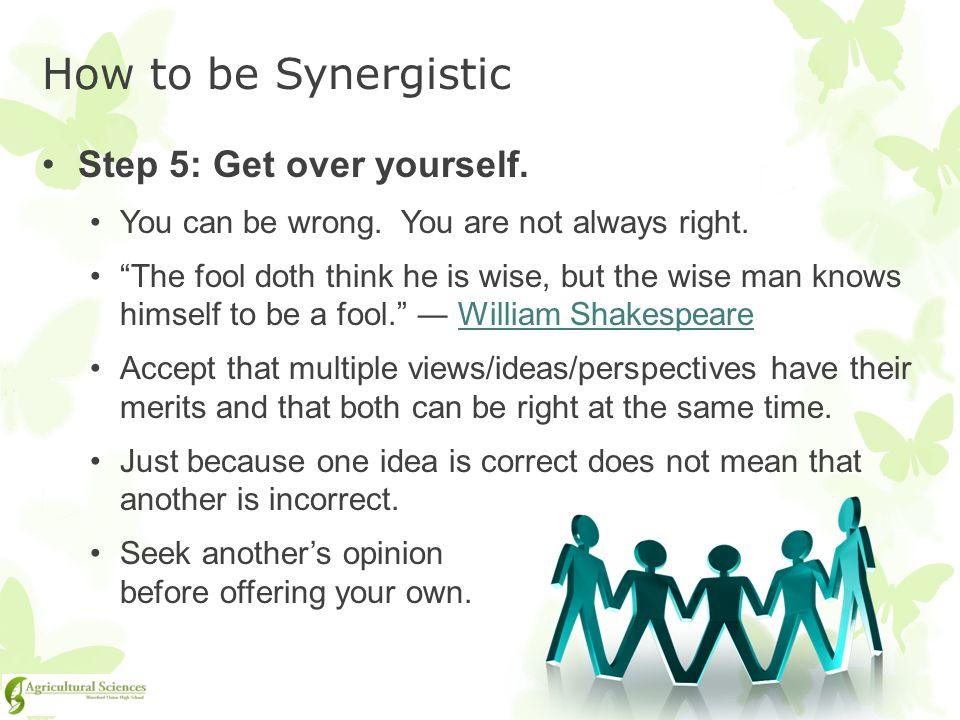 How to be Synergistic Step 5: Get over yourself.