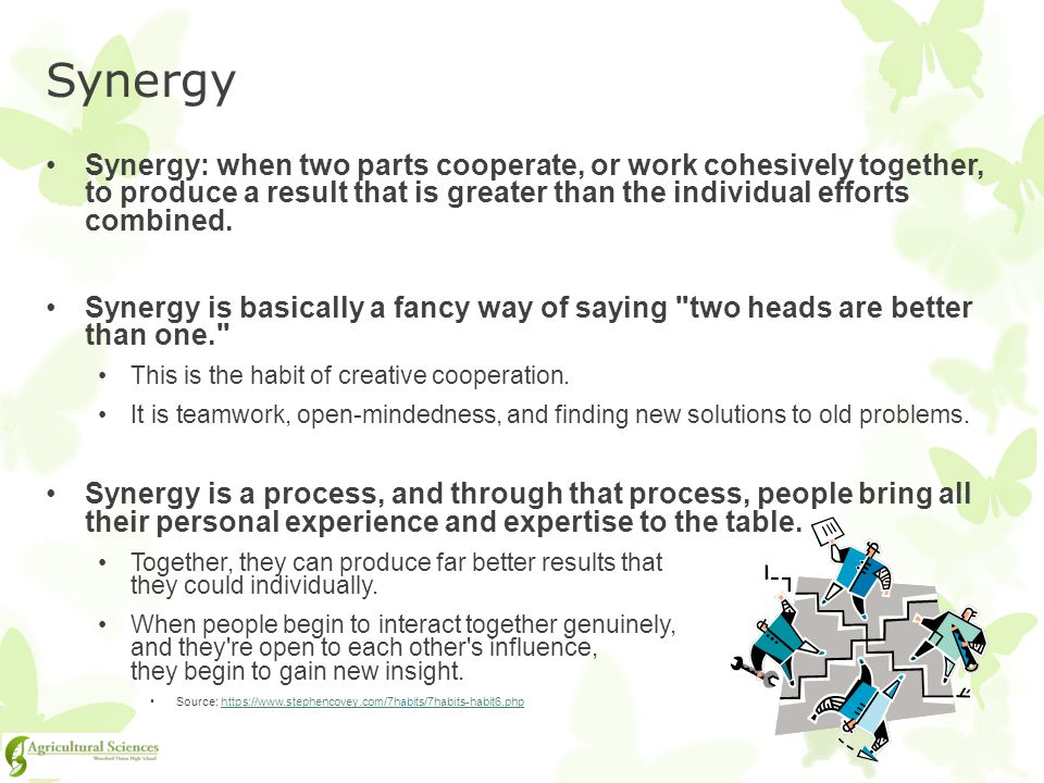 Synergy Synergy: when two parts cooperate, or work cohesively together, to produce a result that is greater than the individual efforts combined.