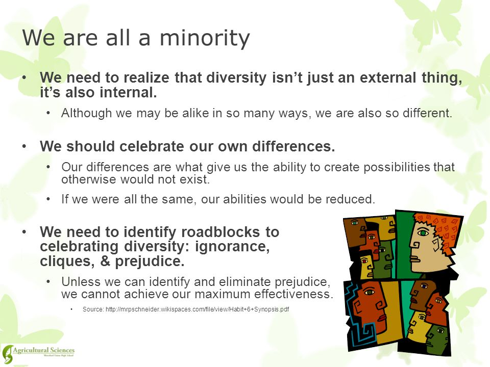 We are all a minority We need to realize that diversity isn't just an external thing, it's also internal.