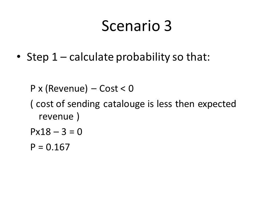 Scenario 3 Step 1 – calculate probability so that: