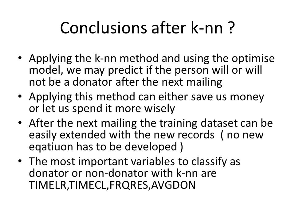 Conclusions after k-nn