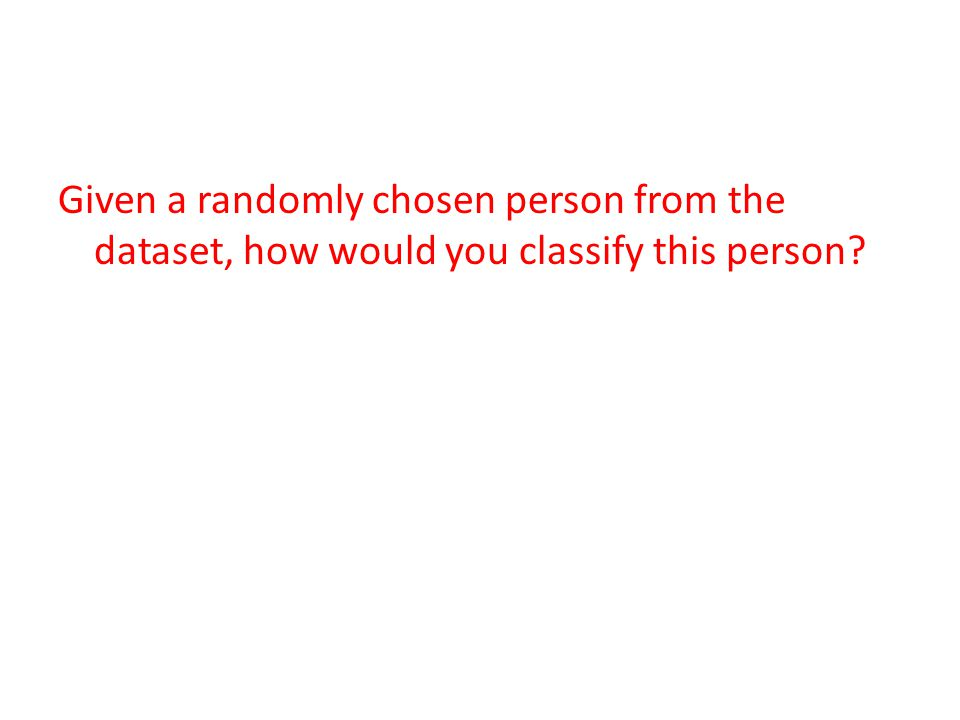 Given a randomly chosen person from the dataset, how would you classify this person