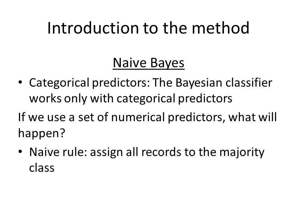 Introduction to the method