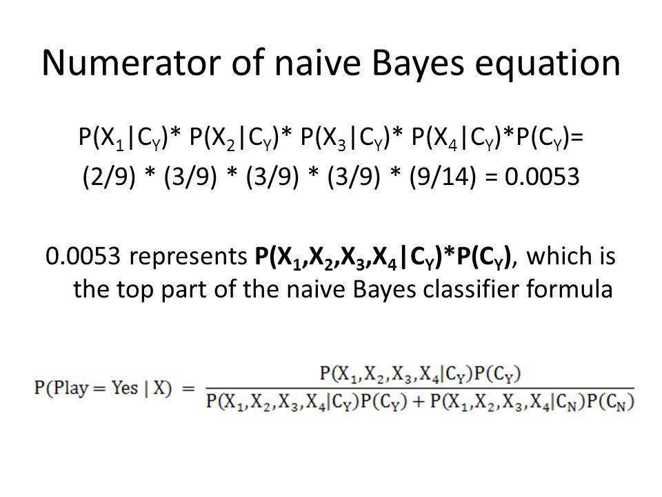 Numerator of naive Bayes equation