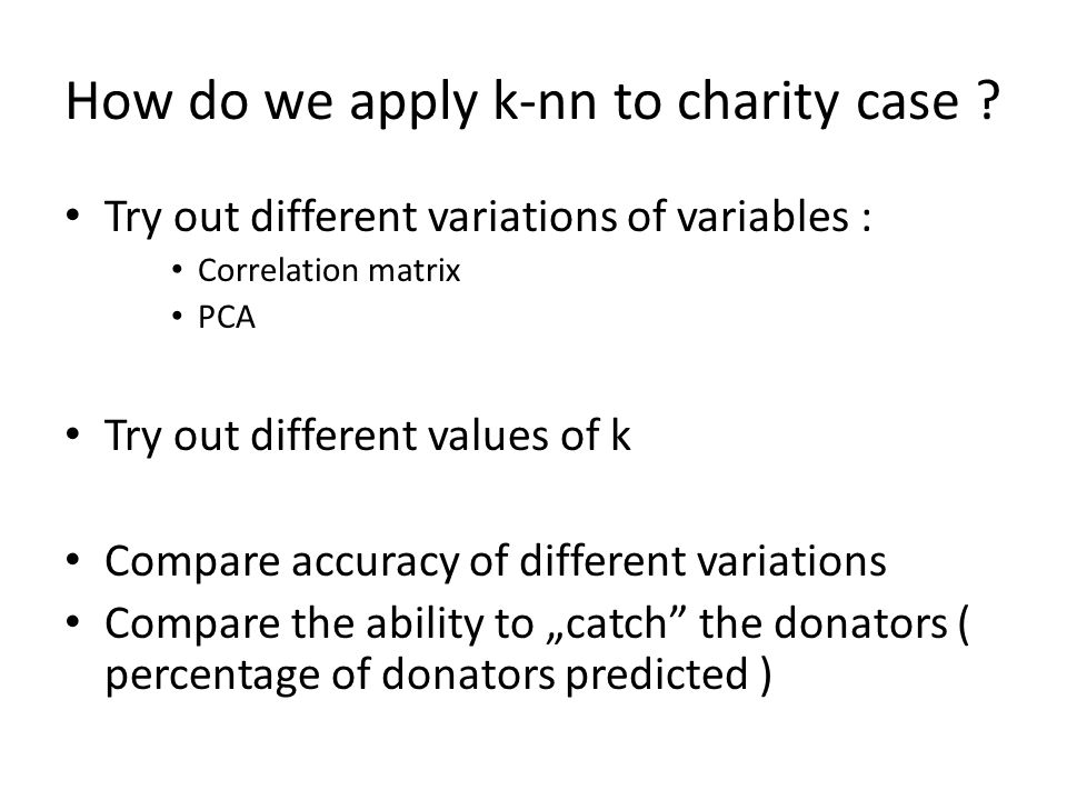 How do we apply k-nn to charity case