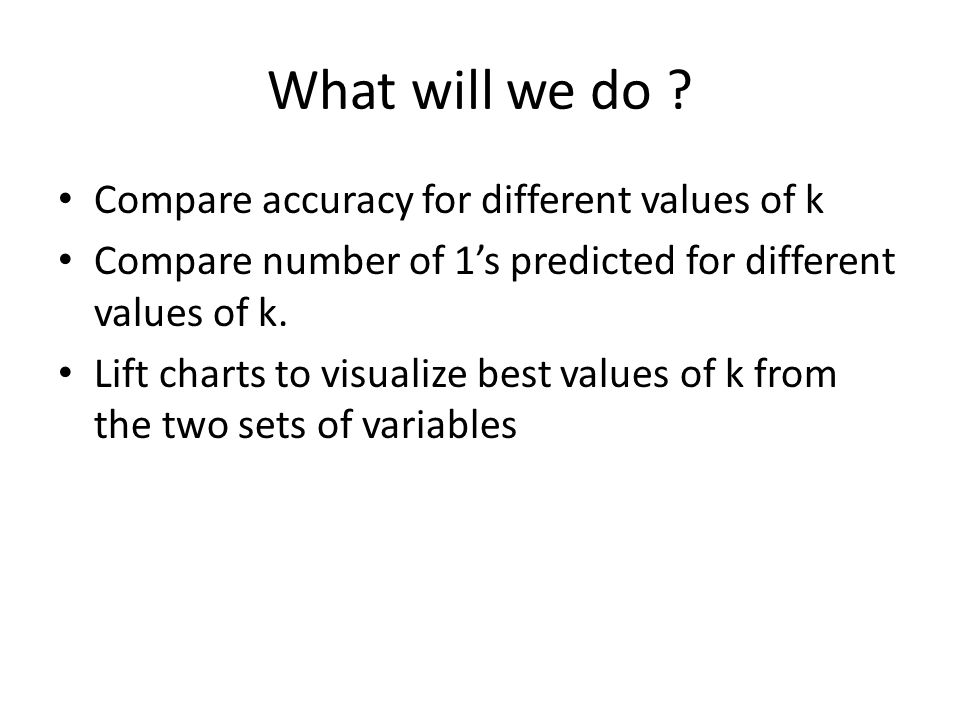 What will we do Compare accuracy for different values of k