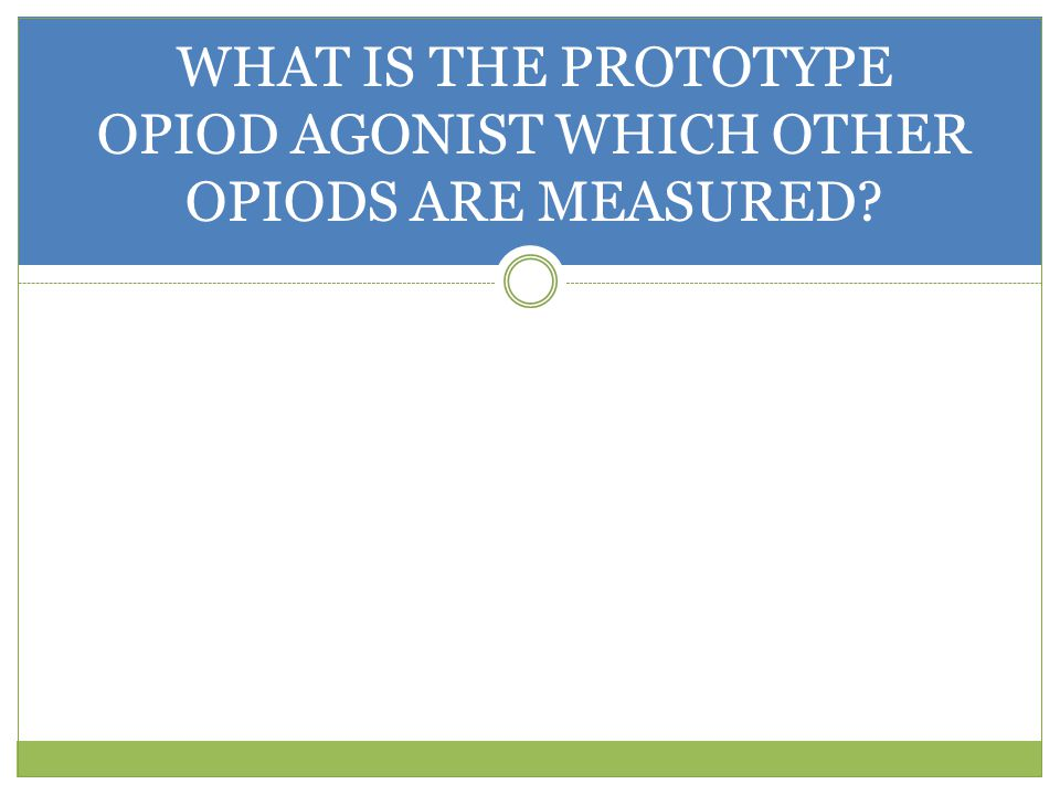 WHAT IS THE PROTOTYPE OPIOD AGONIST WHICH OTHER OPIODS ARE MEASURED
