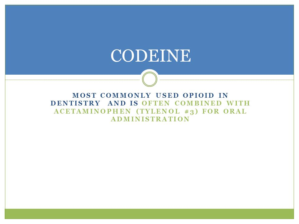 CODEINE Most commonly used opioid in dentistry and is often combined with acetaminophen (Tylenol #3) for oral administration.