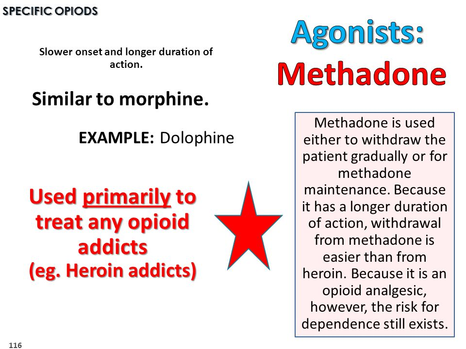 Agonists: Methadone Used primarily to treat any opioid addicts
