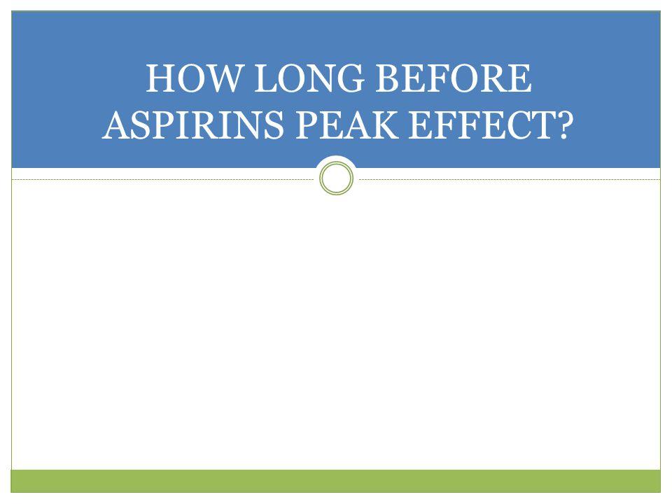 HOW LONG BEFORE ASPIRINS PEAK EFFECT