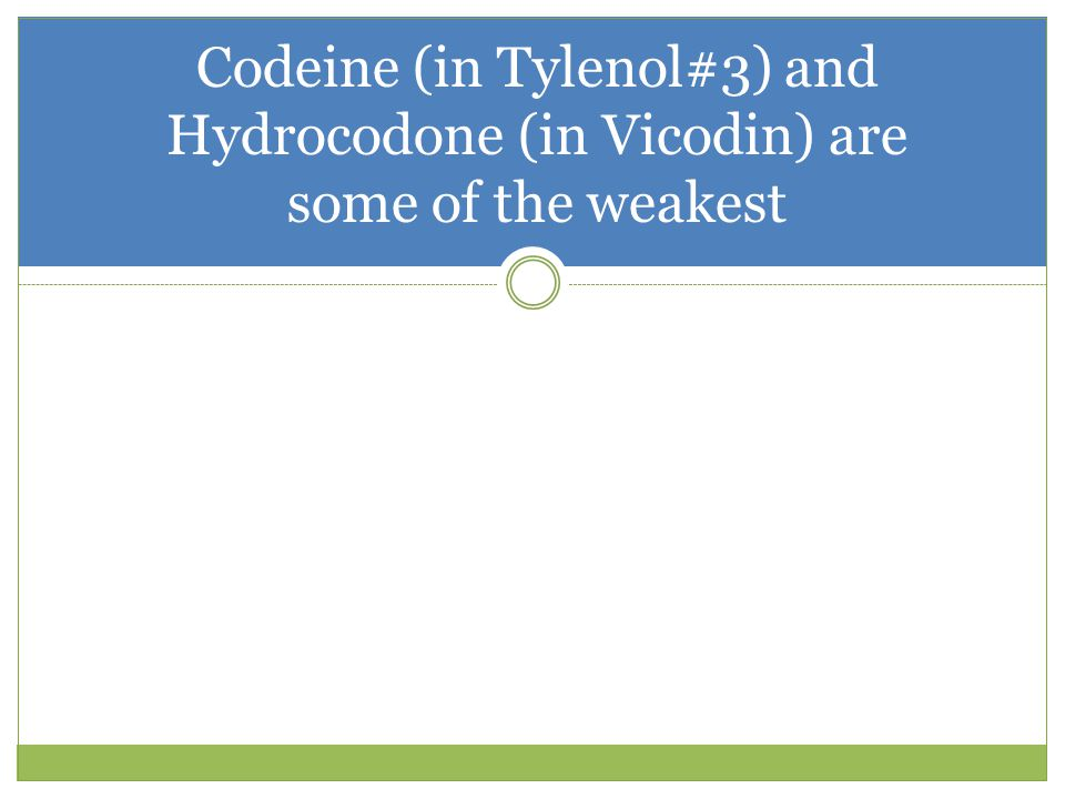 Codeine (in Tylenol#3) and Hydrocodone (in Vicodin) are some of the weakest