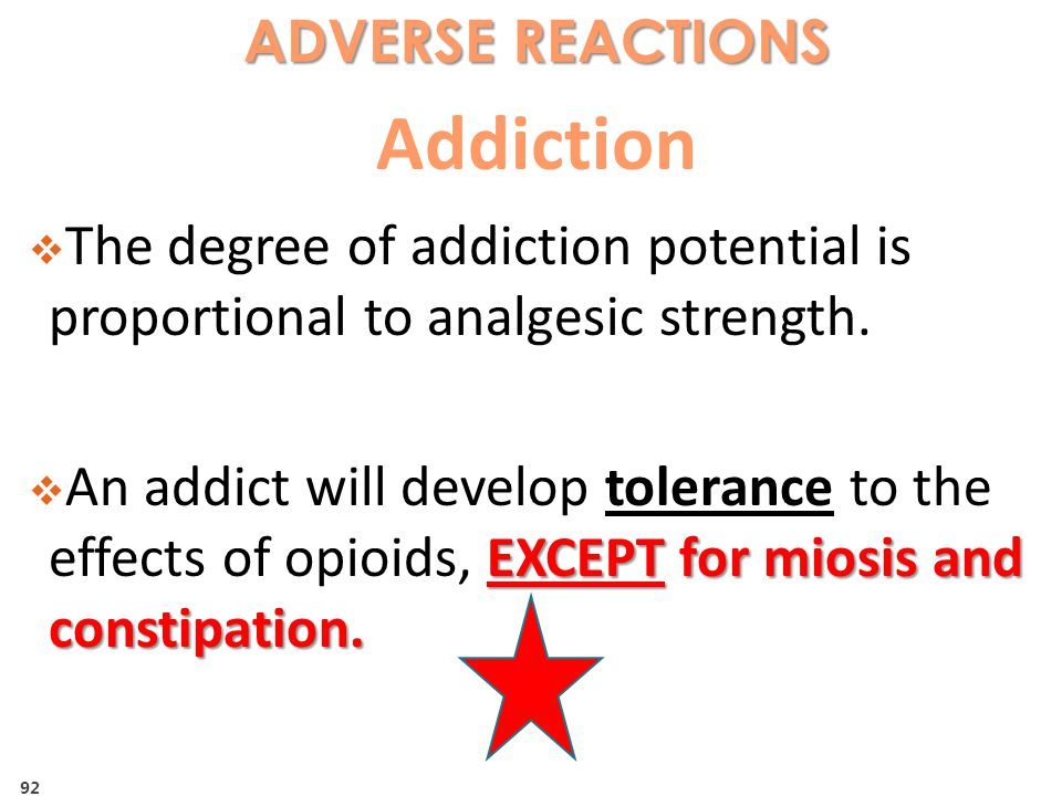 Addiction ADVERSE REACTIONS
