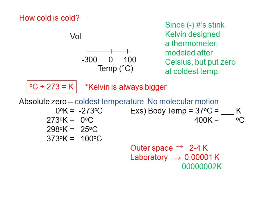 How cold is cold Absolute zero – coldest temperature. No molecular motion. 0oK = -273oC Exs) Body Temp = 37oC = ___ K.