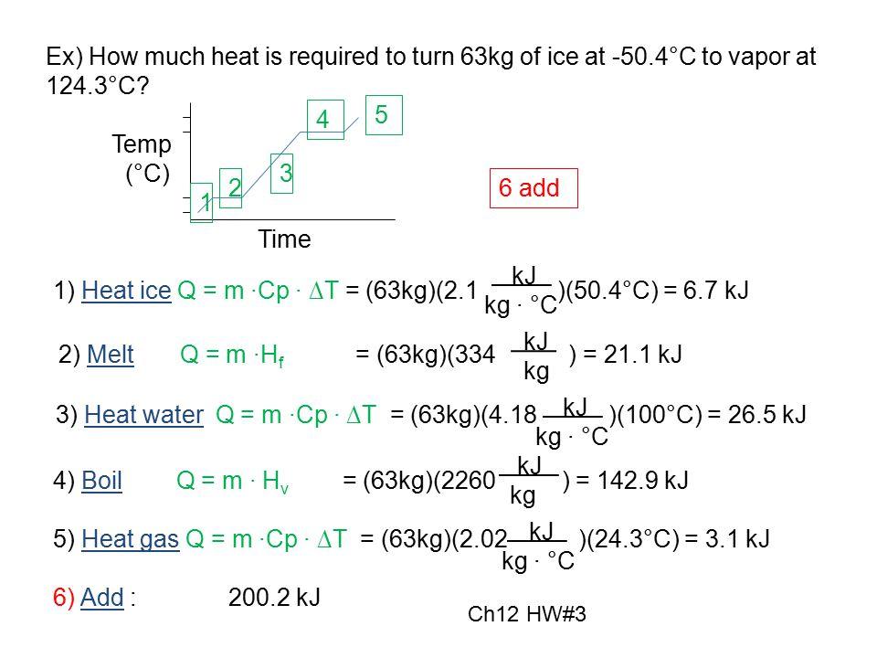 1) Heat ice Q = m ∙Cp ∙ ∆T = (63kg)(2.1 )(50.4°C) = 6.7 kJ