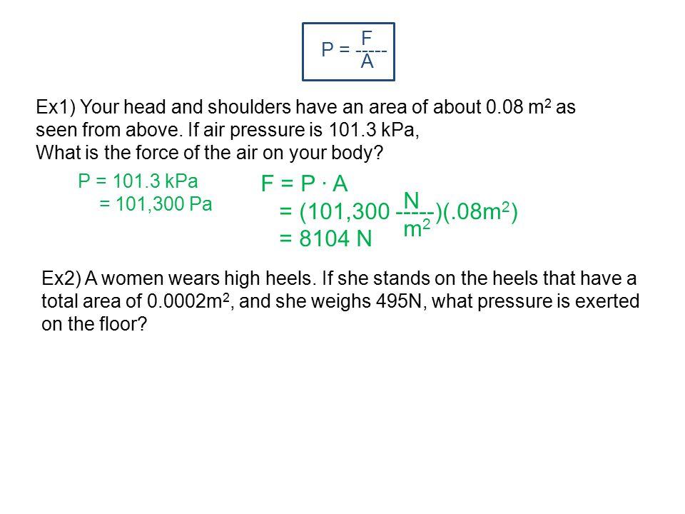 F = P ∙ A = (101,300 -----)(.08m2) N = 8104 N m2 F A P = -----