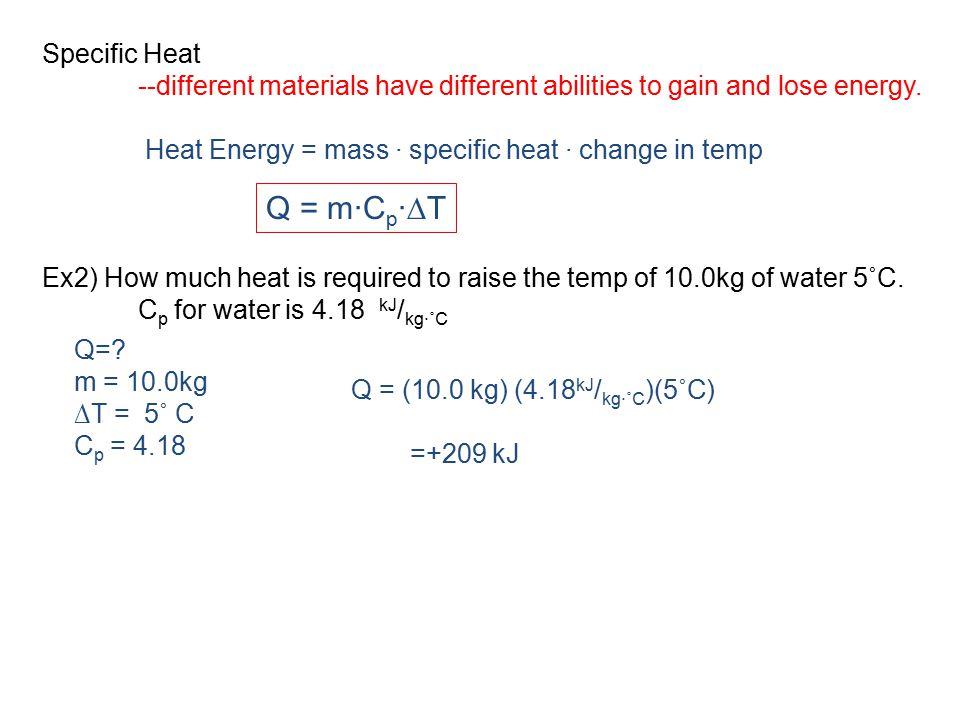 Q = m∙Cp∙∆T Specific Heat