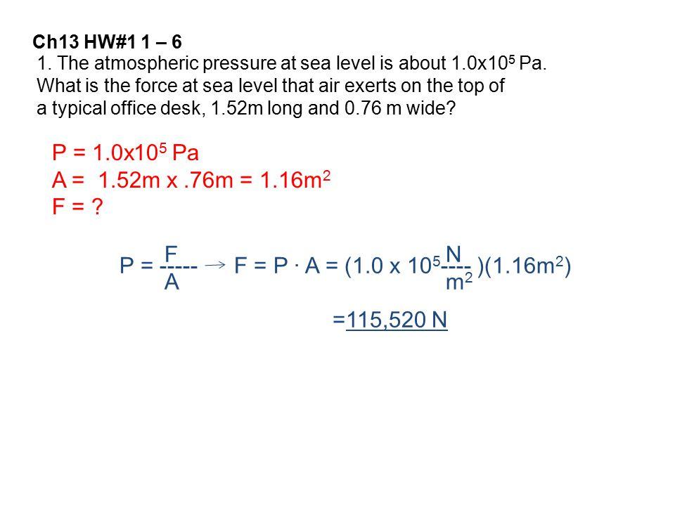 P = 1.0x105 Pa A = 1.52m x .76m = 1.16m2 F = F A N m2 P = -----
