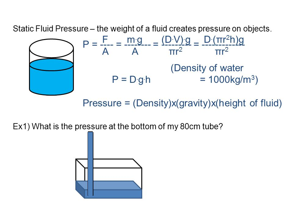 P = ---- = -------- = --------- = ------------- (Density of water