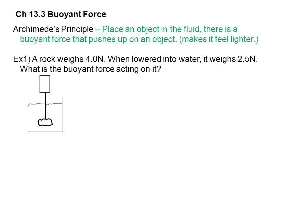 Ch 13.3 Buoyant Force Archimede's Principle – Place an object in the fluid, there is a.