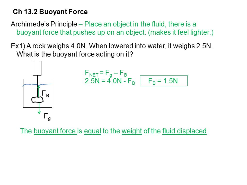 Ch 13.2 Buoyant Force Archimede's Principle – Place an object in the fluid, there is a.