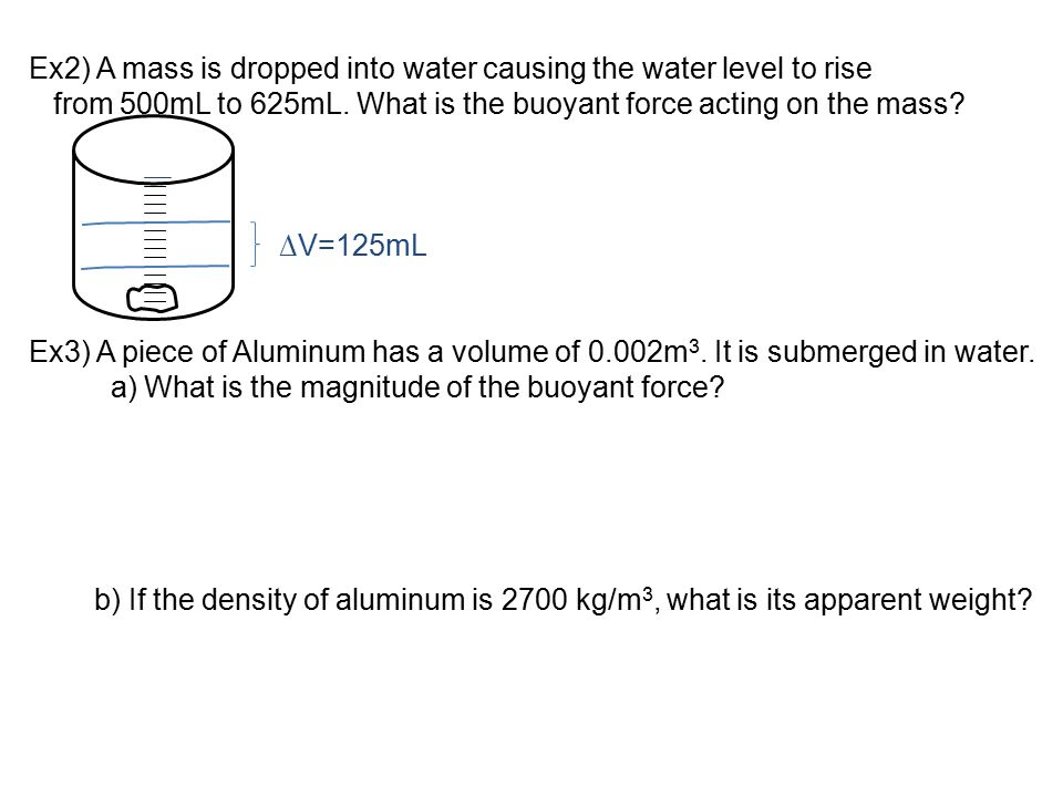 Ex2) A mass is dropped into water causing the water level to rise