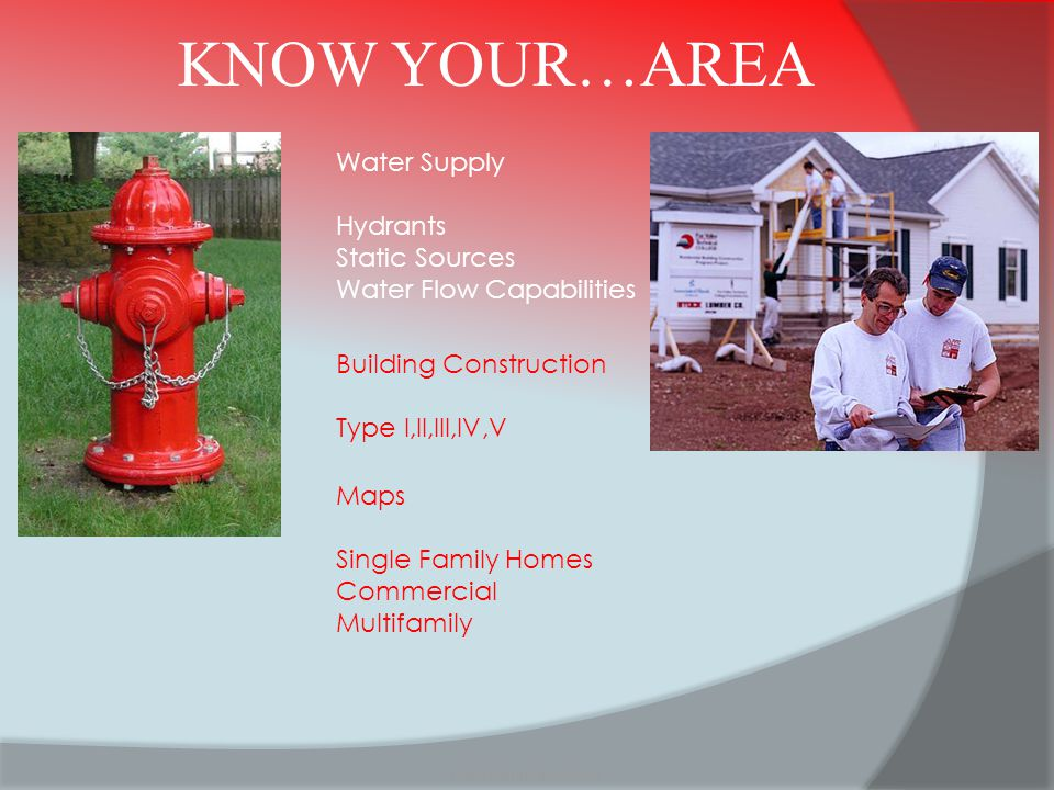 KNOW YOUR…AREA Water Supply Hydrants Static Sources