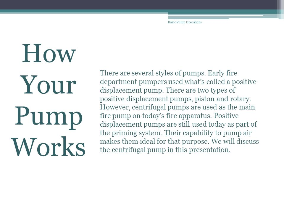 Basic Pump Operations How Your Pump Works.