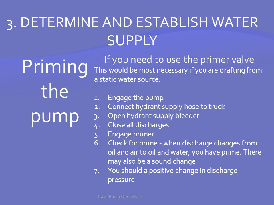 Priming the pump 3. DETERMINE AND ESTABLISH WATER SUPPLY
