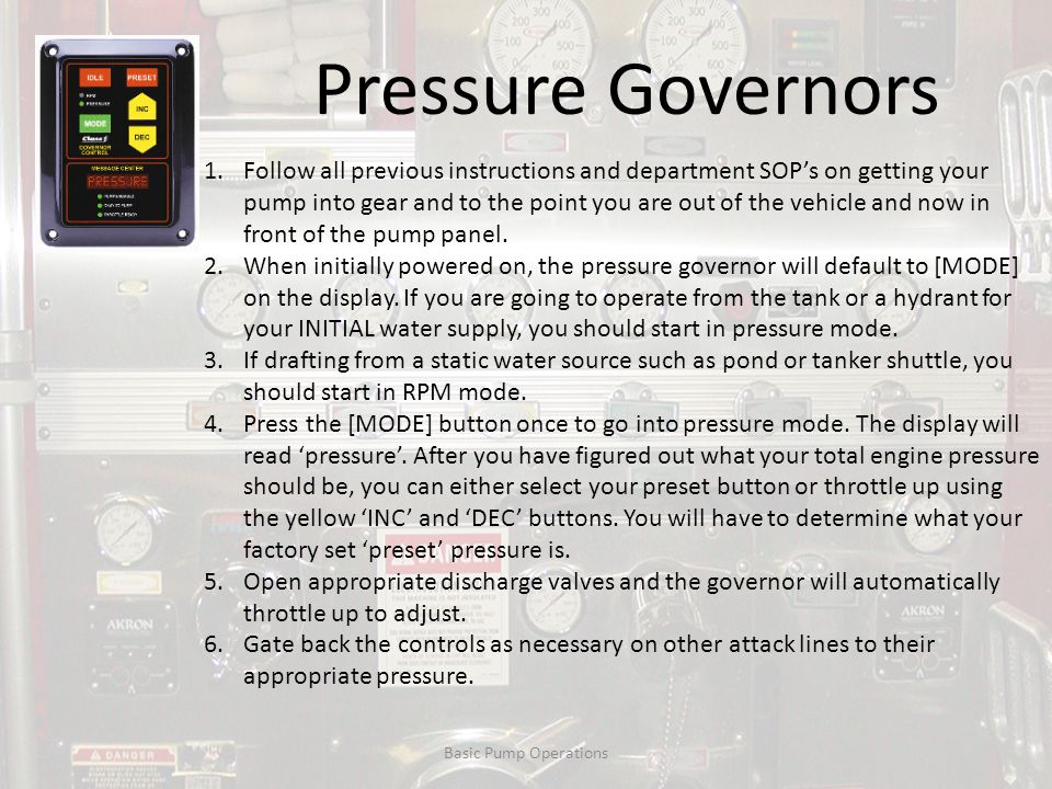 Pressure Governors