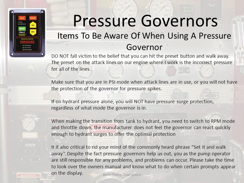Items To Be Aware Of When Using A Pressure Governor