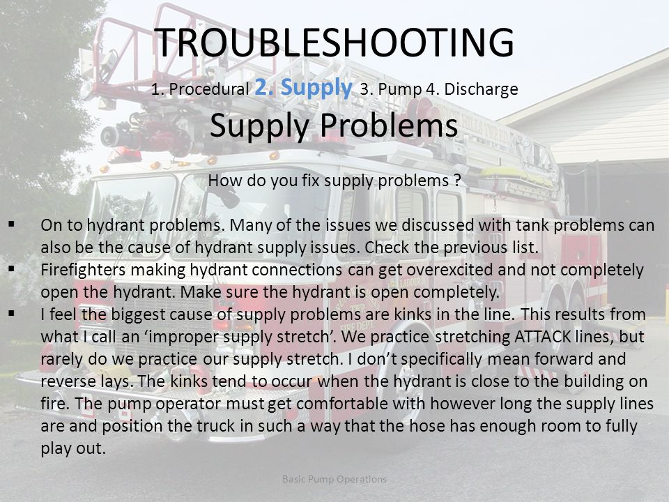TROUBLESHOOTING Supply Problems