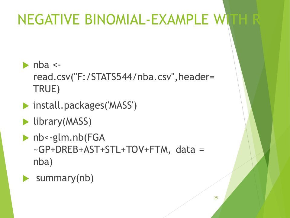 NEGATIVE BINOMIAL-EXAMPLE WITH R