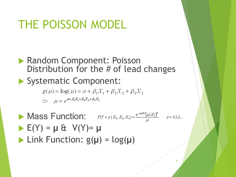 THE POISSON MODEL Random Component: Poisson Distribution for the # of lead changes. Systematic Component: