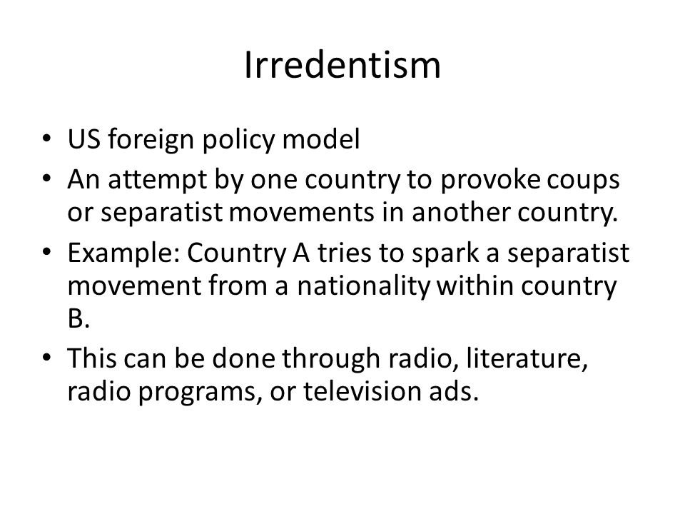 Irredentism US foreign policy model